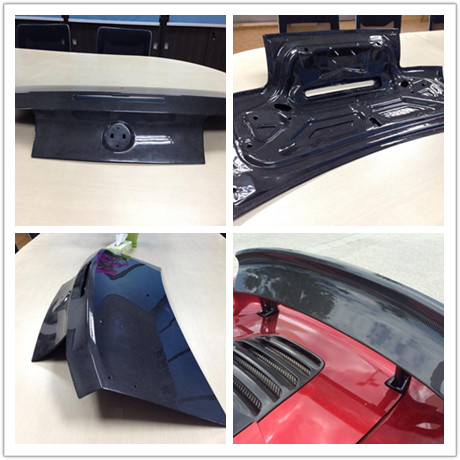 Carbon fiber car tail parts.